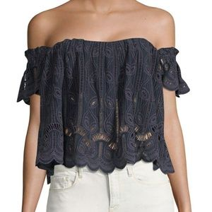 Tularosa Blue Amelia Off The Shoulder Lace Top S
